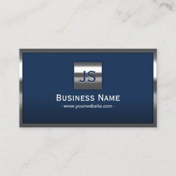 monogram navy blue modern metal frame professional business card