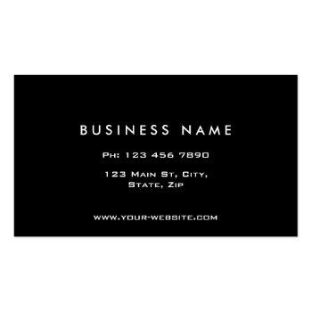 Small Monogram Professional Elegant Modern Black Business Card Back View