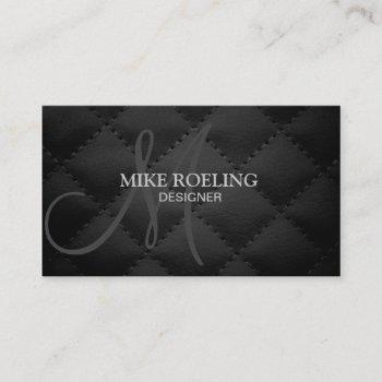 monogram professional elegant modern leather business card