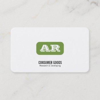 monogram rounded background (apple green) business card