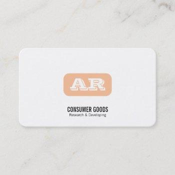 monogram rounded background (apricot) business card