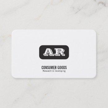 monogram rounded background (black) business card