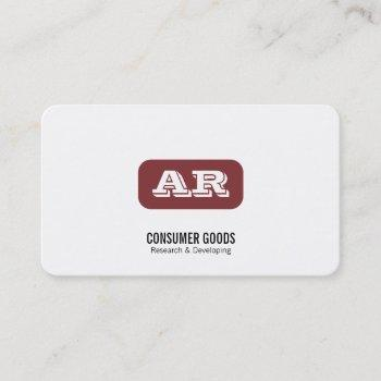 monogram rounded background (deep red) business card