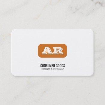monogram rounded background (orange) business card