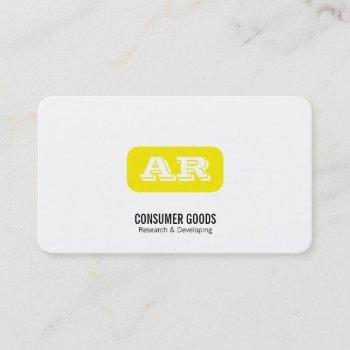 monogram rounded background (yellow) business card