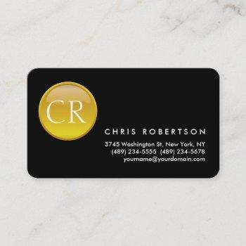 monogram rounded corner black yellow business card