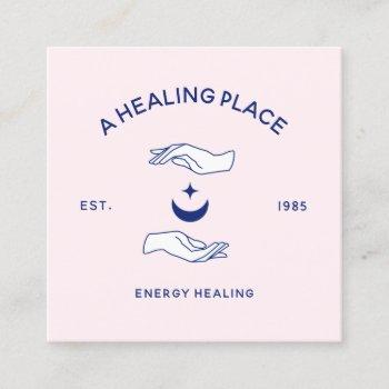 moon and stars hands energy worker square business card