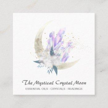 *~* moon crystals floral cosmic glitter  square business card