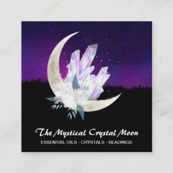 *~* moon crystals floral landscape square business card