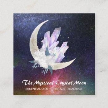 *~* moon crystals floral nebula square business card