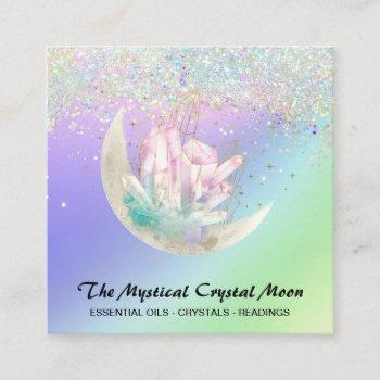*~* moon crystals floral ombre holo glitter  square business card