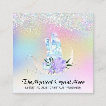 *~* moon crystals holo mystic floral ombre glitter square business card