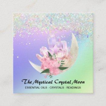 *~* moon crystals mystic floral ombre holo glitter square business card