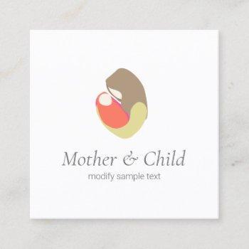mother holding infant logo square business card