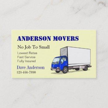 mover or moving company business card