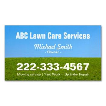 mowing lawn care green field grass blue sky business card magnet