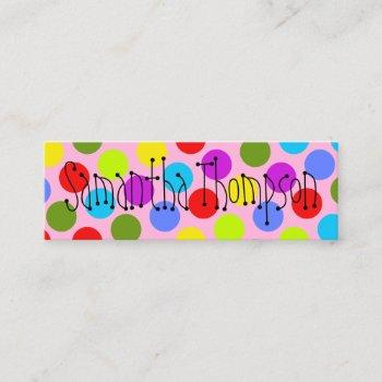 multi-colored dot kids contact info calling card