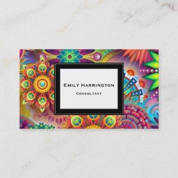 multicolored art deco flower shapes pattern business card