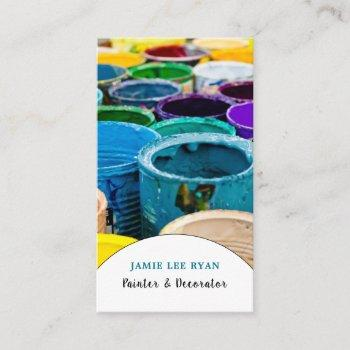 multicolored paint buckets, painter & decorator business card