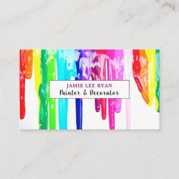 multicolored paint drips, painter & decorator business card