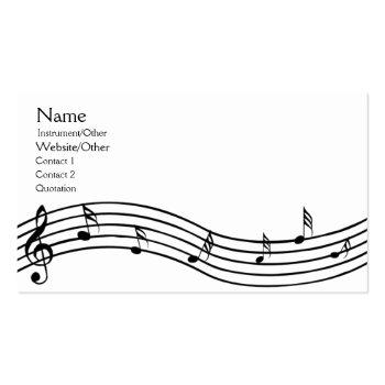 Small Music Notes Business Card Front View