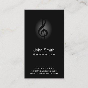 music producer classy dark musical clef business card