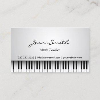 music teacher classy white piano musical business card