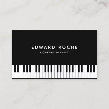 music teacher elegant pianist piano keys business card