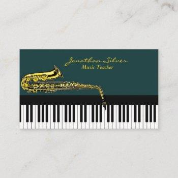 music teacher elegant piano keys & saxophone business card
