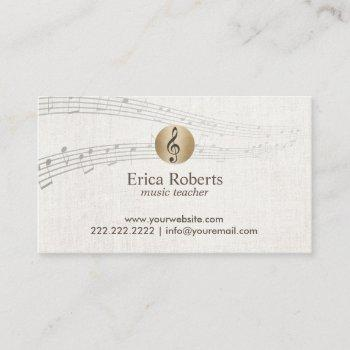 music teacher gold clef logo classy linen musical business card
