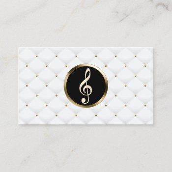 music teacher gold clef logo luxury quilts business card
