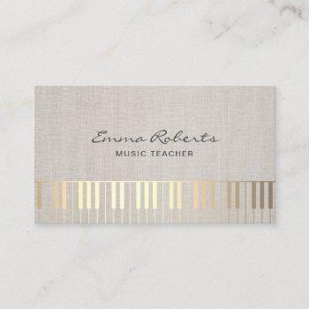 music teacher gold piano musical elegant linen business card