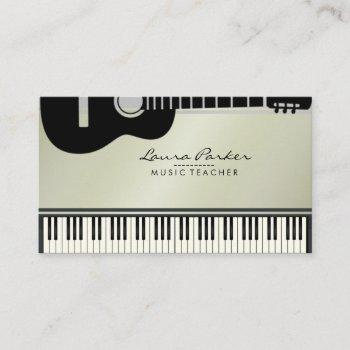 music teacher guitar piano keyboard musician business card