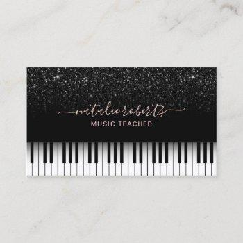music teacher modern black glitter piano keys business card