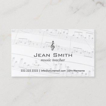 music teacher music notes elegant business card