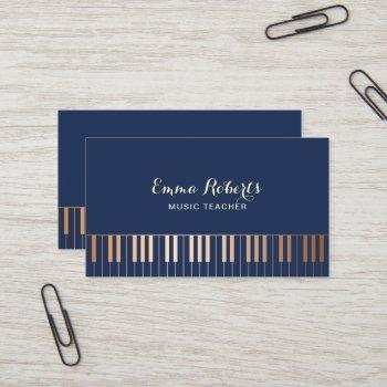 music teacher piano keys navy blue & gold business card