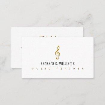 music teacher white business card with music_note