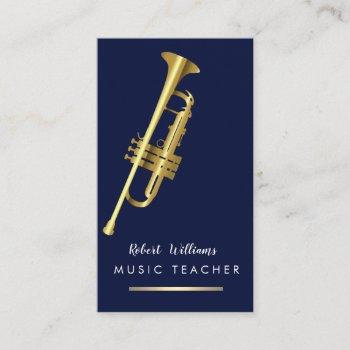 music trumpet instrument bass band  musician gold business card