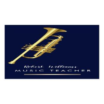Small Music Trumpet Instrument Bass Band  Musician Gold Business Card Front View
