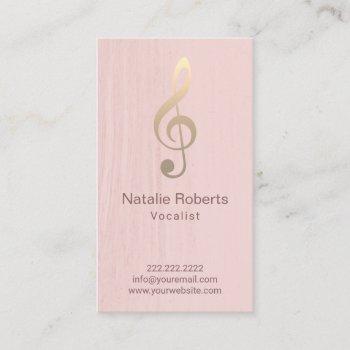 musical clef logo vocalist singer blush pink music business card