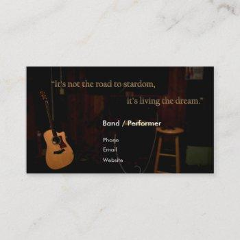 musician/band business cards! guitar on stage. business card