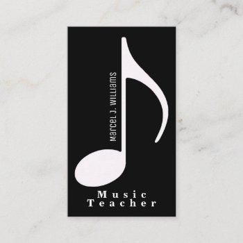 musician black business card with musical note