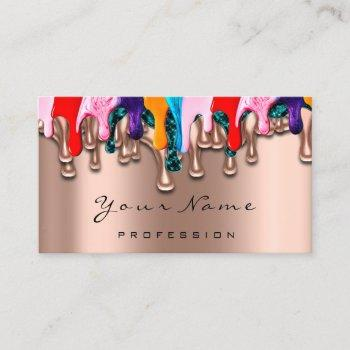 nail artist studio drips rose wax epilation business card