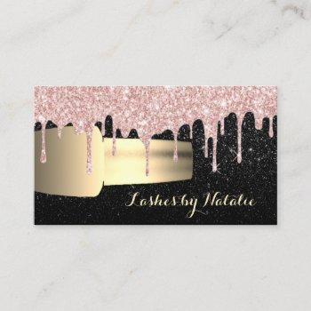 nail polish rose gold drips chic black manicurist business card