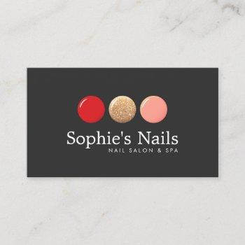 nail salon glitter polish drop logo manicurist business card