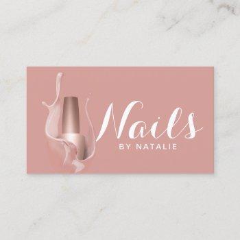 nail salon modern rose gold polish manicurist business card