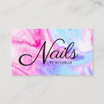 nail salon pink blue girly abstract watercolor art business card