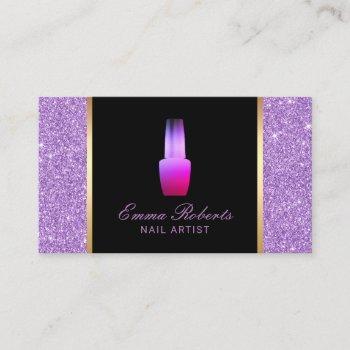 nail salon polish makeup artist purple glitter business card