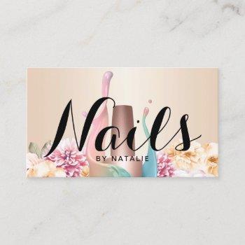 nail salon polish manicurist elegant floral business card