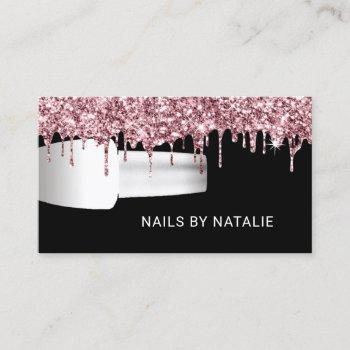 nail salon polish manicurist rose gold drips business card